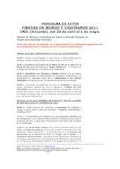 Documento PDF programa de actos fiestas de moros y cristianos de onil 2011