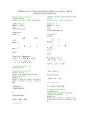 Documento PDF comandos de funcion de transferencia polos ceros y constantes en matlab