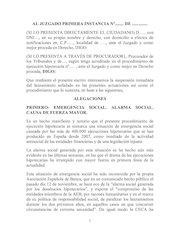 Documento PDF escrito de suspension de lanzamientos y desahucios adais