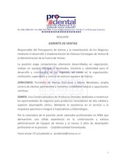 Documento PDF gerente de ventas prodental