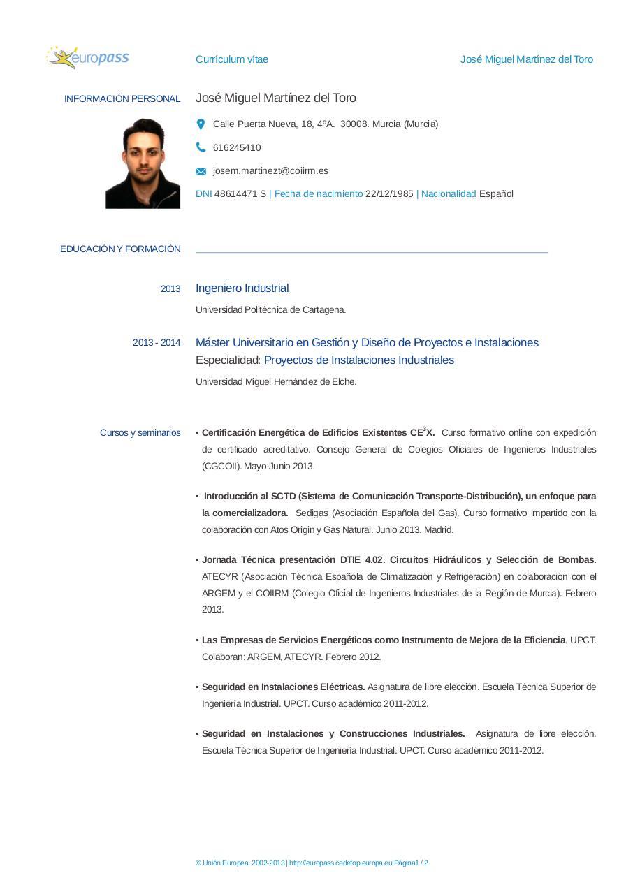 CV José Miguel MartÃnez del Toro por Jose - Caja PDF