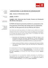 Documento PDF psoe rueda de prensa en av nazareno san frontis riberas duero jueves 14 11 13 a 12 00 h