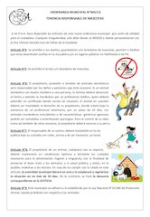 Documento PDF ordenanza para animales