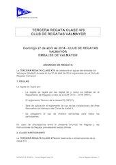 Documento PDF anuncio tercera regata clase 470 de abril 2014