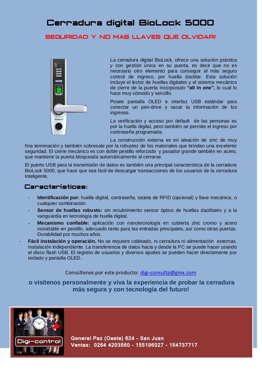 Vista previa del documento Cerradura digital BioLock 5000.pdf - página 1/1