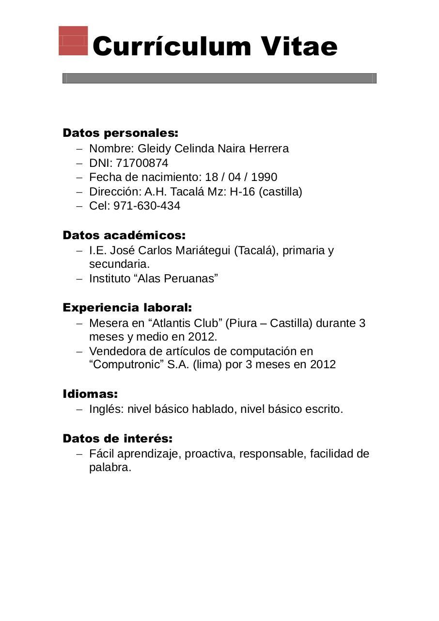 Curriculum Vitae Básico por CurriculumVitaeFacil - Curriculum Vitae ...