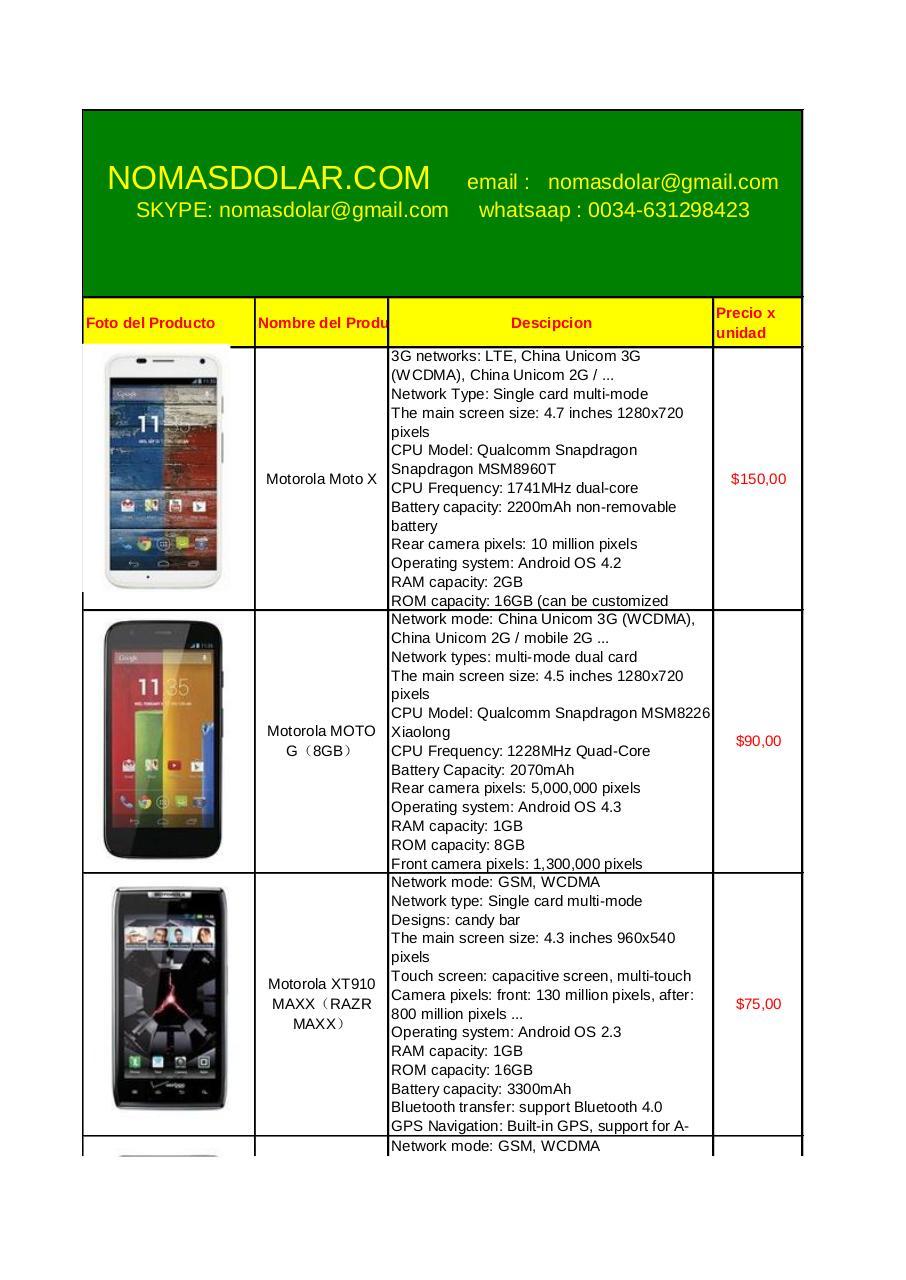 moviles todas las marcas nomasdolar com Motorola por