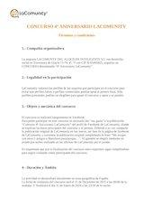 Documento PDF concurso 4 aniversario lacomunity bases legales