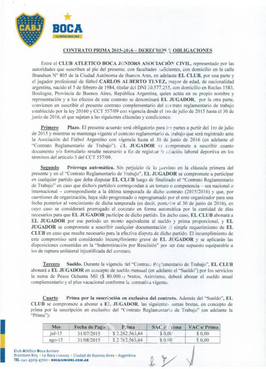 Carlos Tevez - Contract.pdf - página 1/11