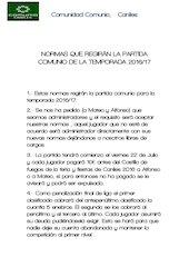 Documento PDF normas que regir n la partida comunio de la temporada 2016