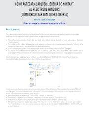 Documento PDF como registrar librerias en kontakt
