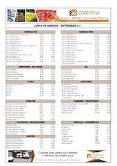 Documento PDF lista de precios mana