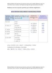 Documento PDF balanceo de la ecuaci n qu mica por metodo algebraico