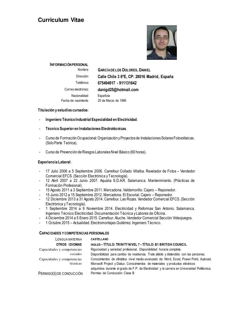 Curriculum Vitae por WinuE - Curriculum Vitae Daniel GarcÃa de los ...