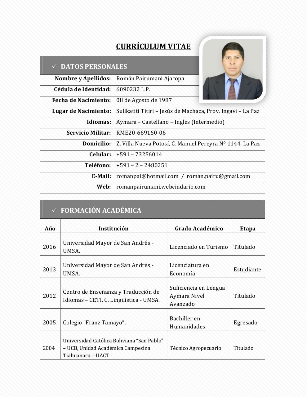 Vista previa del documento Currículum Vitae por user - CV-Roman ...