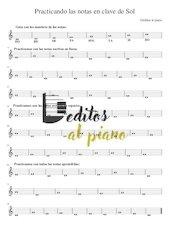Documento PDF practicando las notas en clave de sol deditos al piano
