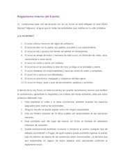 Documento PDF reglamento interno del evento