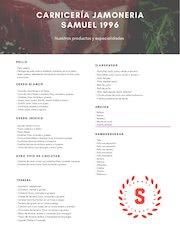 Documento PDF carta de productos de carniceria jamoneria samuel 1996